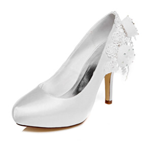 10 cm High Heels Pumps Wedding Shoes For Bridal White Beautiful