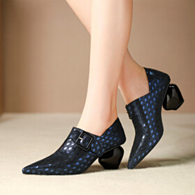 Leather Spring Chunky Heel Suede Mid Heels Polka Dots Fashion Business Casual Pointed Toe Shootie Royal Blue