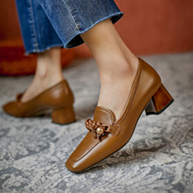 Classic Business Casual 4 cm Low Heel Loafers Chunky Block Heel Brown Comfort Leather