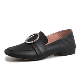 Flats Womens Footwear Black Slip On Shoes Business Casual Shoes Metal Jewelry Leather Closed Toe