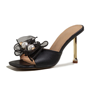 Pearls 4 inch High Heeled Ankle Tie Cute With Bowknot Stilettos With Rhinestones Sandals For Women Black Mules