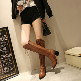 Vintage Knee High Boot Riding Boot Fur Lined Brown Lace Up 6 cm Heeled Cowboy Pointed Toe