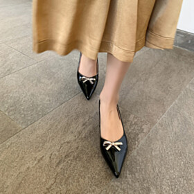 Elegant Pumps Pointed Toe With Rhinestones Low Heeled Chunky Black Business Casual Shoes Dress Shoes Block Heels