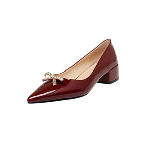Leather Burgundy Block Heel Elegant Pumps Dress Shoes Low Heels