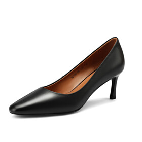 Stilettos Pointed Toe Mid High Heeled Classic Pumps Black