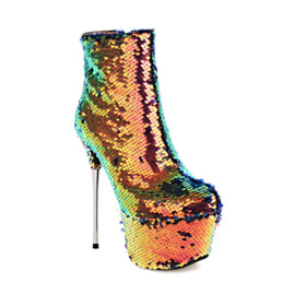 Platform Stiletto Super High Heels Party Shoes Sparkly Sequin Booties Gold Round Toe