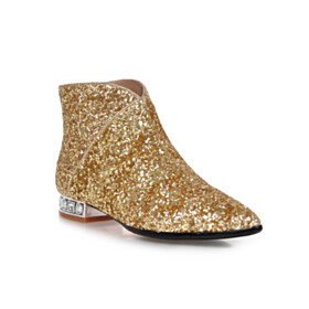 Sparkly Party Shoes Flats Glitter Red Soles Pointed Toe Ankle Boots