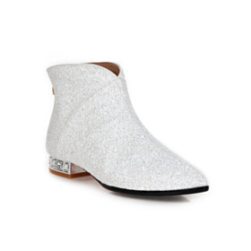 Booties Glitter White Party Shoes Red Bottom Flats Sparkly