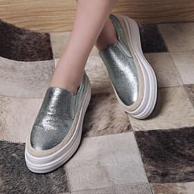 Leather 4 cm Low Heel Closed Toe Platform Heel Slip On Sneakers Fashion Round Toe Mint Green