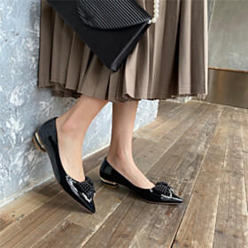 Black Leather With Bowknot With Pearls Womens Footwear Flat Shoes Comfortable Loafers Cute Pointed Toe