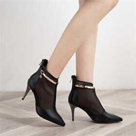 Black Womens Shoes Sandal Boots Elegant Pointed Toe Ankle Boots Summer Stilettos 8 cm High Heel With Metal Jewelry