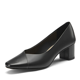 Shoes Elegant Block Heel Leather Comfort Slip On 2 inch Low Heel Pumps Office Shoes Chunky Heel