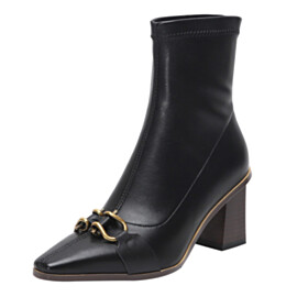 Metal Jewelry Ankle Boots Classic Stretchy Leather 7 cm Heeled Full Grain Closed Toe Pointed Toe Fur Lined Business Casual Shoes