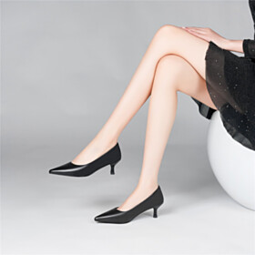 Classic Dress Shoes Pumps Full Grain Leather 2 inch Low Heel Closed Toe Stiletto