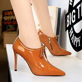 Business Casual Shoes Pointed Toe Classic Closed Toe Shooties Orange 4 inch High Heel Stiletto