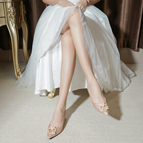 Comfortable Luxury Champagne Pointed Toe Slip On Glitter Party Shoes Flats