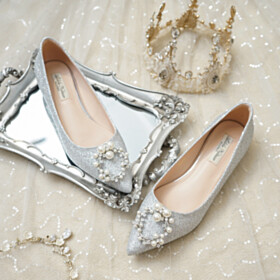 Wedding Shoes Silver Comfort Sequin Slip On Party Shoes Pearls Gorgeous Sparkly