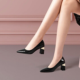 Beautiful Formal Dress Shoes Pointed Toe Work Shoes Classic Pumps Chunky Hee 6 cm Mid Heel Quilted Block Heels