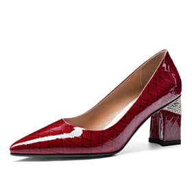 Classic Quilted Mid Heels Burgundy Leather Elegant Block Heels Pumps