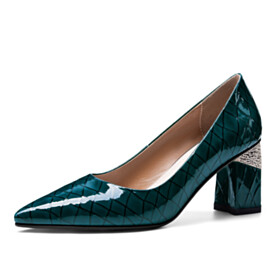 Classic Elegant Slip On Dark Emerald Green Block Heels Formal Dress Shoes Chunky Heel 6 cm Mid Heel Quilted Business Casual Shoes Spring