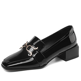 Patent Low Heels Block Heels Thick Heel Loafers Business Casual Comfort Womens Shoes