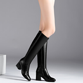 Full Grain Chunky Classic Black Knee High Boot Leather Fall 6 cm Heeled Closed Toe Riding Boot
