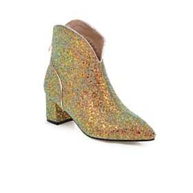 Red Sole Party Shoes Pointed Toe Block Heels Ankle Boots Chunky Fall Green 6 cm Heel Sparkly Glitter