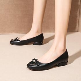 Womens Footwear Black Low Heel Bowknot Slip On Loafers Cute Leather
