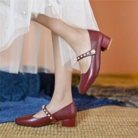 Round Toe Burgundy Comfort Leather Block Heel Low Heeled Womens Footwear Cute Chunky