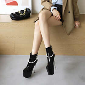 Classic Platform Super High Heel Pearls Stiletto Heels Booties Going Out Shoes Natural Leather Patent Leather