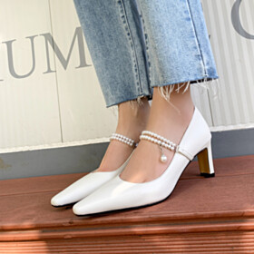 Elegant White 7 cm Heeled With Ankle Strap Pumps Dress Shoes