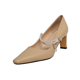 With Ankle Strap Pointed Toe Thick Heel 7 cm Mid Heel Dress Shoes Pearls Pumps Going Out Shoes