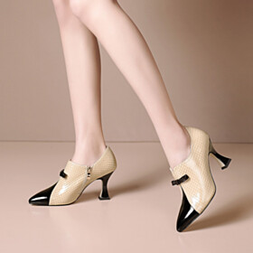 Flats Comfortable High Heel Snake Printed Oxford Shoes Elegant Stilettos Shooties High Top Leather