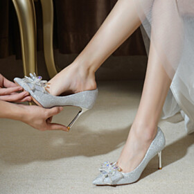Silver Wedding Shoes Dancing Pointed Toe Prom Shoes Pumps 3 inch High Heeled Gorgeous With Bow Flower Sparkly Sequin