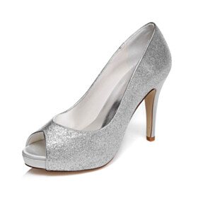 Peep Toe Shoes Pumps Satin Stilettos Silver 10 cm High Heels Dress Shoes Slip On