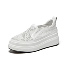 Platform Heel Sneakers White Leather Lace Comfort Womens Footwear Flats With Flower