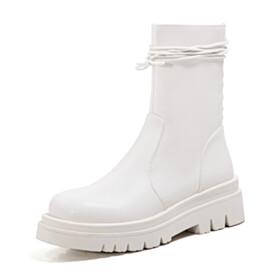 Classic White Booties Martin Platform Fur Lined Comfort