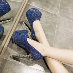 Evening Shoes Platform Going Out Footwear Royal Blue Glitter High Heel Pumps Round Toe Red Sole Sparkly