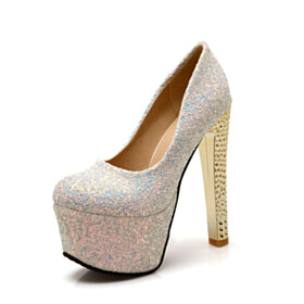 Sparkly Glitter Platform Heel 5 inch High Heeled Red Bottoms Pumps Shoes White Chunky Heel Round Toe