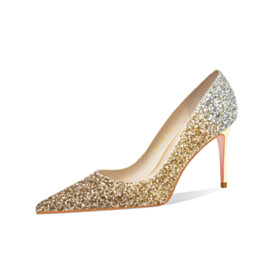 Stiletto Heels Sequin 3 inch High Heeled Pumps Wedding Shoes For Bridal Gold Ombre Pointed Toe Elegant Evening Party Shoes