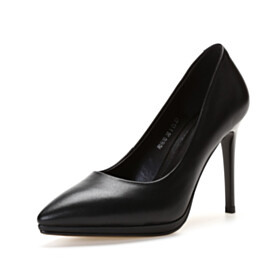 Pumps 4 inch High Heel Business Casual Shoes Black Full Grain Classic Leather Stilettos