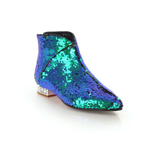 Evening Shoes Green Booties Chunky Closed Toe Round Toe Sparkly