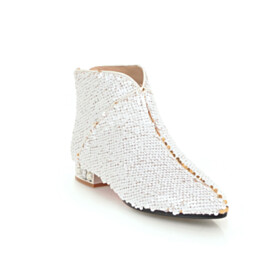 White Sparkly Fur Lined Low Heels Gradient Booties Round Toe Evening Shoes