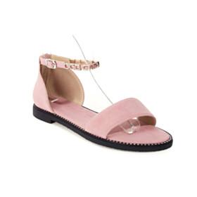 Peep Toe Beach Nubuck Comfort Flats With Ankle Strap Sandals Blush