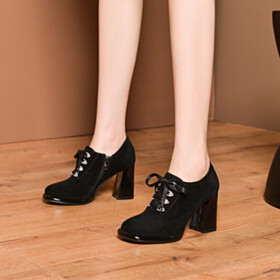 3 inch High Heeled Suede Vintage Business Casual Block Heel Black Classic Shootie Leather Lacing Up Womens Footwear