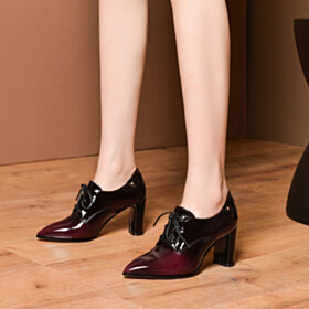 Burgundy Pointed Toe Shoes Ombre 7 cm Mid Heel Leather Shooties Modern Oxford Shoes Thick Heel Block Heels Beautiful