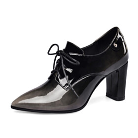 Oxford Shoes Lacing Up Shooties Chunky Heel Ombre Gray 7 cm Mid Heel Block Heel Pointed Toe