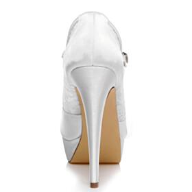 High Heel Slip On Bridal Shoes Dress Shoes Pumps Beautiful White