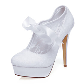 Shoes White Dress Shoes Lace Platform Heel Stiletto 5 inch High Heel
