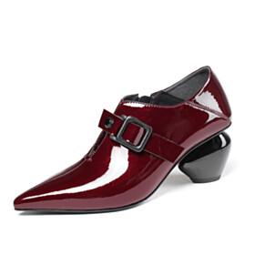 Chunky Burgundy Elegant 6 cm Mid Heel Shooties Womens Shoes